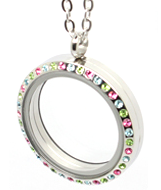 FL18 - Floating Locket Necklace Colour Stones, Stainless Steel with Chain
