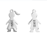 "MFS3 - Personalized Girl & Boy Family ""My Favorite Story"" Dangles"