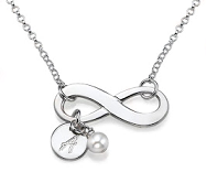 N102 - Sterling Silver Infinity Necklace with dangle initial & dangle birthstone
