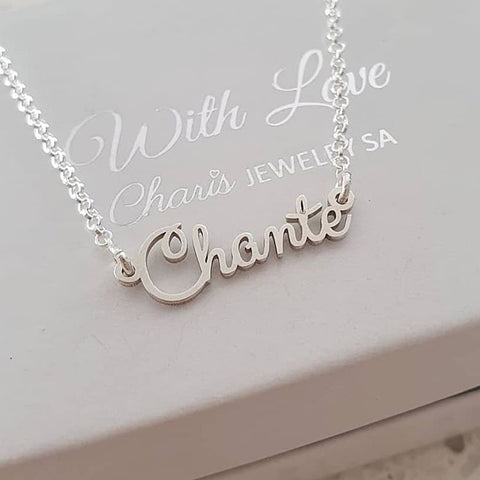 N785 - 925 Sterling Silver Personalized Cursive Name Necklace