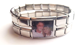 PLC3 - Custom Photo Mega Link, Stainless Steel (Used to join 2 Italian Charm Bracelets)