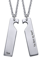 N1007 - 925 Sterling Silver Couples Personalized Necklace set of 2