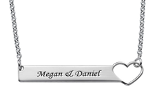 N1005 - 925 Sterling Silver Heart Bar Personalized Couples Names Necklace