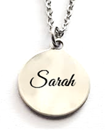 EJ50 - Personalized Name Necklace Round Pendant, Stainless Steel