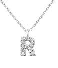 C812-C36370 - 925 Sterling Silver A-Z Any Initial CZ Capital Letter Necklace