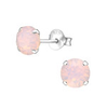 C827-C34635 - 925 Sterling Silver Pink Rose Water SN Opal Ear Studs 6mm