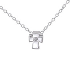 C177-C24293 - 925 Sterling Silver Children's Cross Necklace with stone