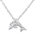 C878-C26904 - 925 Sterling Silver Cut out Hearts Dolphin Necklace