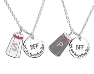 C593-C30447 - Sterling Silver Best Friends Salt and Pepper Necklace Set of 2