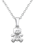 C289-C29873 - Sterling Silver Children's Bear Necklace with Crystals