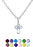 C389-C34856 - 925 Sterling Silver Birthstone Small Cross Necklace 5x7mm