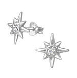 C827-C31596 - 925 Sterling Silver CZ Star Ear Stud Earrings 11mm