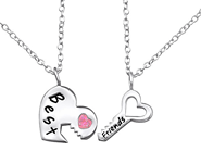 C594-C26392 - Sterling Silver Best Friends Necklace set of 2