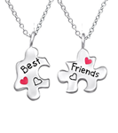C832-C26391 - Sterling Silver Children's Puzzle Best Friends Necklace set
