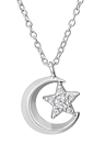 C817-C33901 - 925 Sterling Silver Moon and Star Necklace
