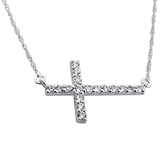 C700-C21768 - 925 Sterling Silver Large 21mm CZ Cross Necklace