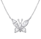 C823-C34008 - 925 Sterling Silver CZ Butterfly Necklace