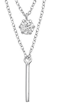 C814-C33018 - 925 Sterling Silver CZ Double Layer Necklace