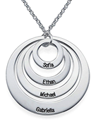 N76 - Four Open Circles Necklace with Engraving in Sterling Silver.
