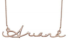 N48 - Signature Style Sterling Silver Name Necklace in 18K Rose Gold Plating