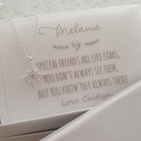 A159-C39890 - 925 Sterling Silver North Star Necklace with Note, 10x11mm on 45cm chain