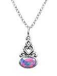 C394-C23644 - 925 Sterling Silver Opal Multi Lavender Necklace