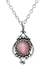 C1347-C30919 - 925 Sterling Silver Marquise Pink Cat's Eye Necklace