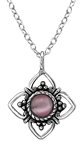 C141-30917 - 925 Sterling Silver Pink Cat's Eye Stone Necklace