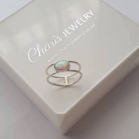 C297-C31194 - 925 Sterling Silver Fire and Snow Opal Double Ring