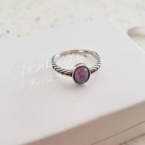 Sterling silver synthetic opal ring online jewellery shop in South Africa