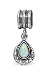 925 Sterling Silver Fire and Snow Opal European Dangle Charm