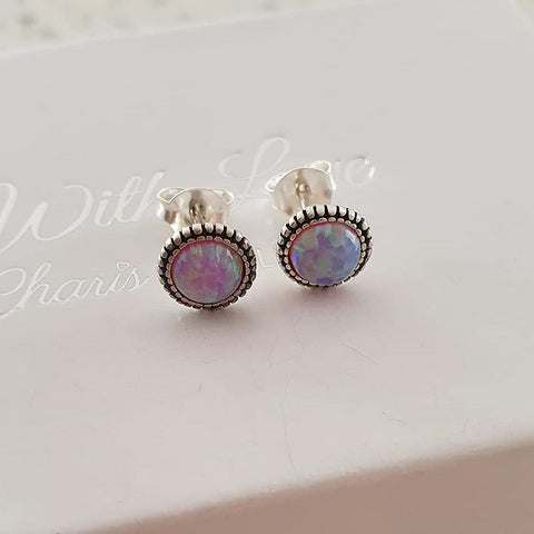 C131-C29346 - 925 Sterling Silver Bubblegem Opal Semi Precious Earrings 7mm
