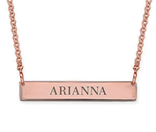N59 - Tiny Engraved Sterling Silver Bar Necklace in 18k Rose Gold Plating