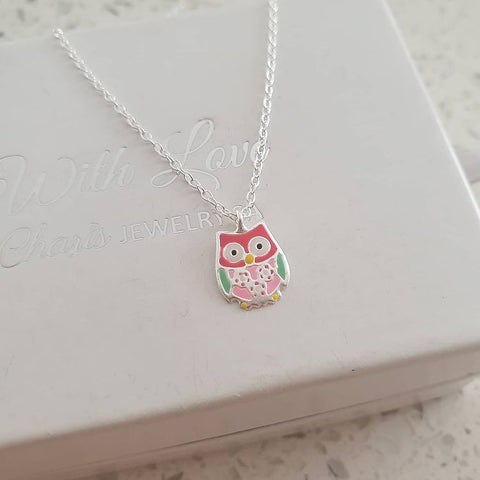 A325-C37601 - 925 Sterling Silver Children's Owl Necklace