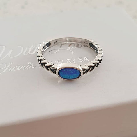 C1374-C31480 - 925 Sterling Silver Pacific Blue SN Opal Ring