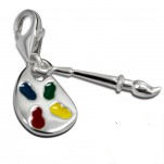 C12-C15166 - 925 Sterling Silver Paint Palette Charm Dangle