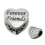 C63-C10413 - Sterling Silver Forever Friends, Sparkle Heart European Bead