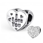 C61-C9936 - Sterling Silver Sparkle European Bead, I love you