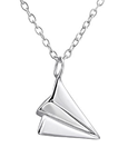 C652-C26053 - 925 Sterling Silver Paper Airplane Plane Necklace