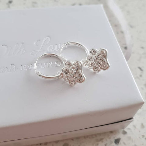 SS101-C28056 - 925 Sterling Silver kid's Hoop Earrings, Paw Print