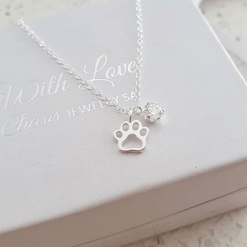 C1190-C36840 - 925 Sterling Silver CZ Stone Paw Print Necklace