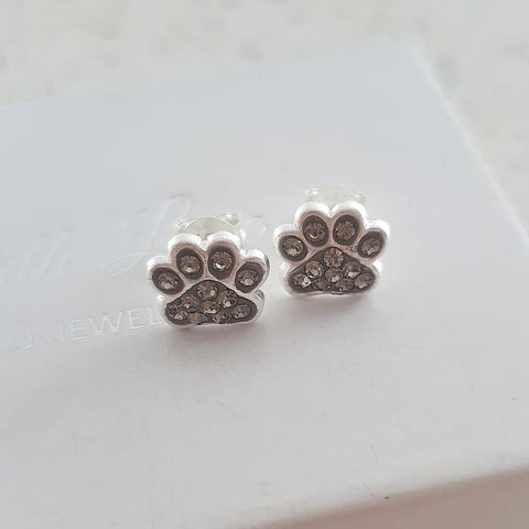 A256-C18872 - 925 Sterling Silver Crystal Paw Print Earrings, 9mm
