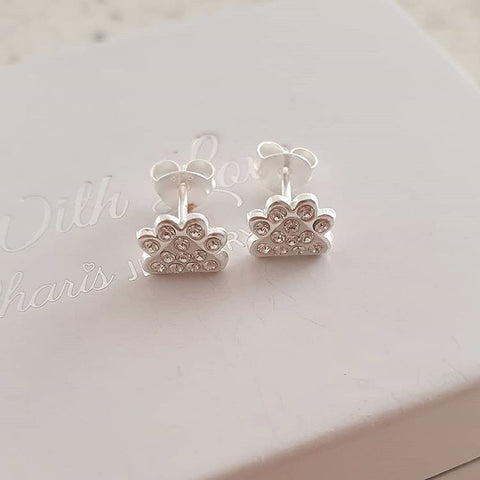 A143-C32794 - 925 Sterling Silver Paw Print Swarovski Crystal Earrings