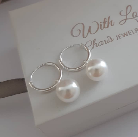 C78-C32008 - 925 Sterling Silver Hoop with pearl dangle earrings
