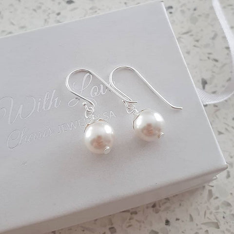 B74-C24230 - Sterling Silver Swarovski pearl earrings 8mm