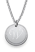 N357 - 925 Sterling Silver Personalized Initial Round Disc Necklace