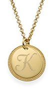 N354 - Personalized Round Initial Necklace, 18K Gold Plated over Sterling Silver