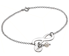 N82 - 925 Sterling Silver Personalized Infinity Initial Bracelet with dangle