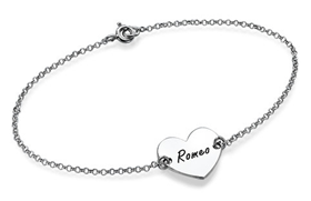 N83 - Sterling Silver Personalized Couples Names Bracelet with 1-2 Names on front & back