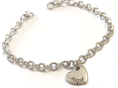 EJ7 - Personalized Custom Name Heart Bracelet (Children to Adults sizes) Ready in 5-7 days!